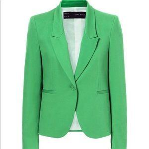 ZARA Green Pique Blazer Jacket Small